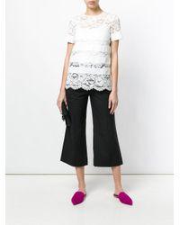 Twin Set - Black Wide Leg Cropped Pants - Lyst