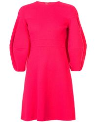Oscar de la Renta - Pink Lantern Sleeve Flared Dress - Lyst