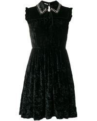 Miu Miu Black Crystal Embellished Velvet Mini Dress