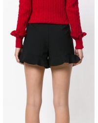 RED Valentino - Black Ruffled Mini Shorts - Lyst
