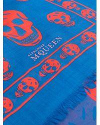 Alexander McQueen - Blue Skull Scarf - Lyst