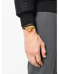 Versace - Black Link Braided Bracelet for Men - Lyst