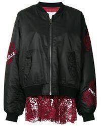 Gaëlle Bonheur - Black Lace Appliqué Bomber Jacket - Lyst