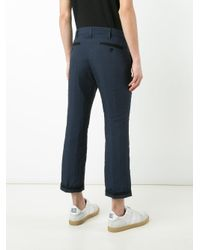Sacai - Blue Pinstriped Crop Trousers for Men - Lyst