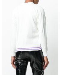 Comme des Garçons - White Stripe Detail Cardigan - Lyst