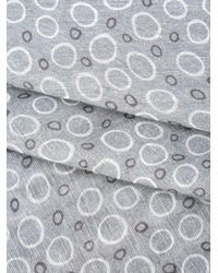 Canali - Gray Circle Pattern Scarf for Men - Lyst