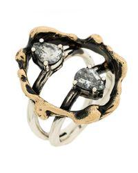 Voodoo Jewels - Metallic Stone Embellished Finger Ring - Lyst