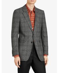 Burberry - Gray Slim Fit Prince Of Wales Check Wool Tailored Jacket for Men - Lyst