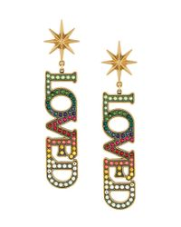 Gucci - Metallic Loved Pendant Earrings With Crystals - Lyst