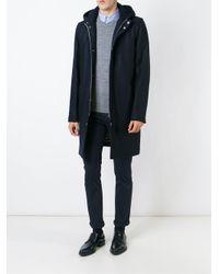 Brunello Cucinelli - Blue Padded Hooded Coat for Men - Lyst
