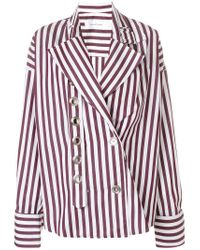 Marques'Almeida - Red Striped Eyelet Detailed Shirt - Lyst