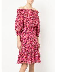 Saloni - Pink Printed Off The Shoulder Dress - Lyst