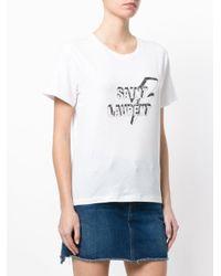 Saint Laurent - White Lightning Bolt Logo T-shirt - Lyst