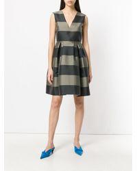 Rochas - Green Striped Flared Dress - Lyst