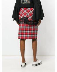 Facetasm Plaid Layered Lace Trim Midi Skirt