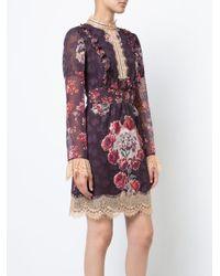 Anna Sui - Pink Rose Print High Neck Dress - Lyst