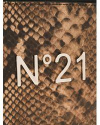 N°21 - Brown Snakeskin Effect Clutch - Lyst