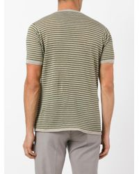 Zanone - Green Knitted Striped T-shirt for Men - Lyst