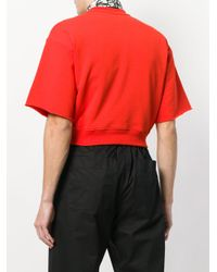MSGM - Red Wow Print Cropped Sweatshirt for Men - Lyst