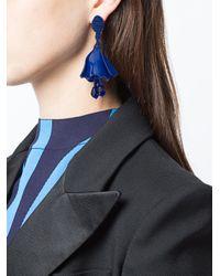 Oscar de la Renta - Blue Floral Drop Earrings - Lyst