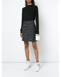 Adam Lippes - Black Cotton Tweed Wrap Mini Skirt - Lyst