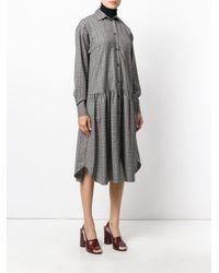 Erika Cavallini Semi Couture - Gray Plaid Midi Dress - Lyst