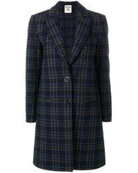 Erika Cavallini Semi Couture | Blue Checked Coat | Lyst