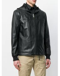 Les Hommes - Black Hooded Biker Jacket for Men - Lyst