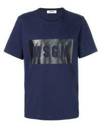 MSGM - Blue Branded T-shirt for Men - Lyst