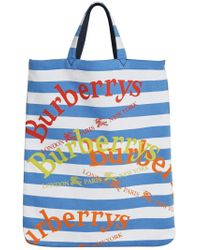 Burberry - Blue Archive Logo Striped Shopper - Lyst