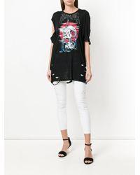 DIESEL - White Distressed Cropped Skinny Jeans - Lyst