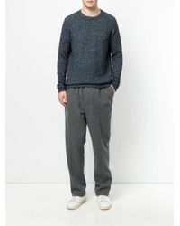 Roberto Collina - Blue Ribbed Trim Pullover for Men - Lyst