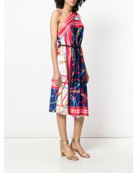 Pinko - Blue Twill One Shoulder Dress - Lyst