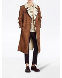 Burberry - Brown Shearling Trench Coat - Lyst