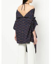 Palmer//Harding - Blue Print Off Shoulder Asymmetric Shirt - Lyst