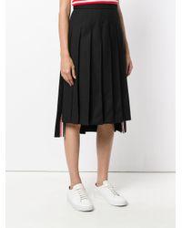 Thom Browne - Gray Dropped-back Below Knee Pleated Skirt In Black Crepe Suiting - Lyst