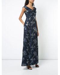Aidan Mattox - Blue Twist Detail Jacquard Maxi Dress - Lyst