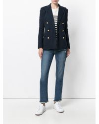 Polo Ralph Lauren Blue Knit Double-breasted Blazer