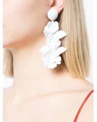Oscar de la Renta - White Climbing Flower Earrings - Lyst