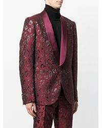 Christian Pellizzari - Red Metallic Patterned Suit Jacket for Men - Lyst