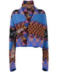 Etro - Blue Patchwork Wraparound Cardi-coat - Lyst