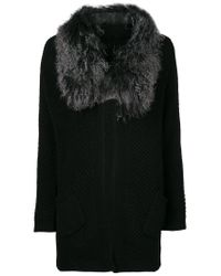 Hemisphere | Black Fur Trim Cardigan | Lyst
