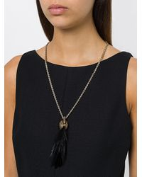 Lanvin | Metallic Swan Feather Charm Necklace | Lyst