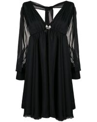 Francesco Paolo Salerno - Black Sheer Back Tie Dress - Lyst