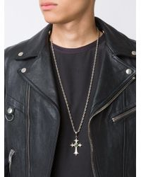 Roman Paul - Gray Embellished Cross Pendant Necklace for Men - Lyst