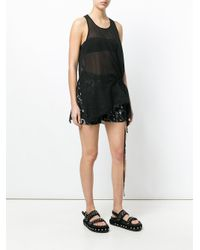 Lost and Found Rooms - Black Sheer Draped Tank Top - Lyst
