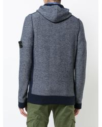 Stone Island | Blue Zipped Hoodie for Men | Lyst