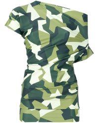 Junya Watanabe - Green Asymmetric Graphic Camouflage Print Top - Lyst