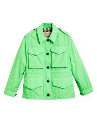 Burberry - Green Taffeta Field Jacket - Lyst