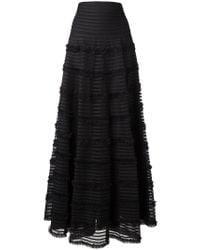 Givenchy | Black Ruffle Trim Flared Skirt | Lyst